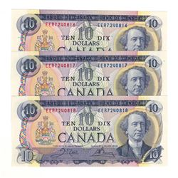 Canada 1971 $10 Banknote 3 in Sequence. Crow-Bouey EER Prefix.