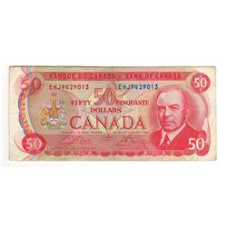 Canada 1975 $50 Banknote Crow-Bouey EHJ Prefix.