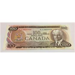 Canada 1975 $100 Banknote Crow-Bouey AJL Prefix.
