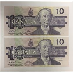Canada 1989 $10 Banknotes 2 in Sequence. AEB Prefix.