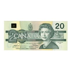 Canada 1991 $20 Banknotes EIX with serifs