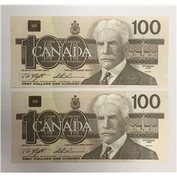 Canada 1988 $100 Banknotes 2 in Sequence. BJM Prefix.