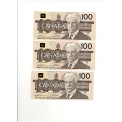 Canada 1988 $100 Banknotes 3 in Sequence. BJC Prefix.