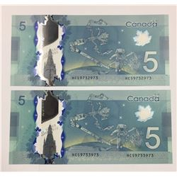 Canada 2013 $5 Repeater Banknotes. Lot of 2.