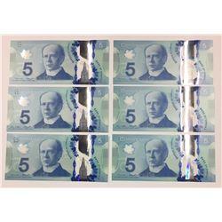Canada 2013 $5 Radar Banknotes. Lot of 6.