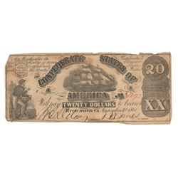 United States 1861 $20 Confederate States Richmond