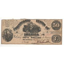 United States 1861 $50 Confederate States Richmond