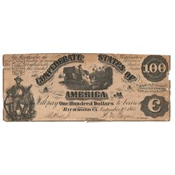 United States 1861 $100 Confederate States Richmond