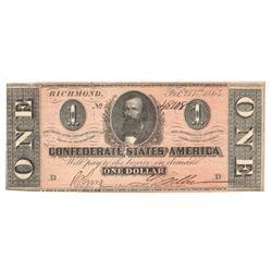 United States 1864 $1 Confederate States Richmond
