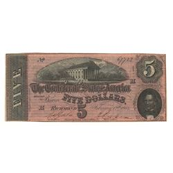 United States 1864 $5 Confederate States Richmond