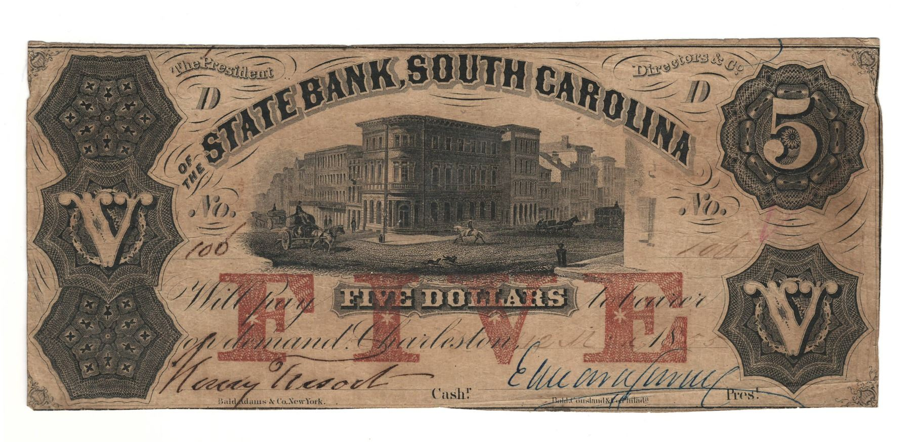 United States 1855 $5 State Bank South Carolina