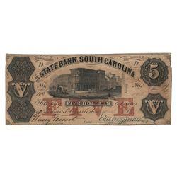 United States 1855 $5 State Bank South Carolina