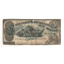 United States 1863 $5 The State of Louisiana