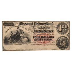 United States 1860s $4.50 Missouri Defence Bond - Scarce