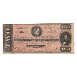 United States 1864 $2 Confederate States Richmond
