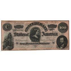 United States 1864 $100 Confederate States Richmond