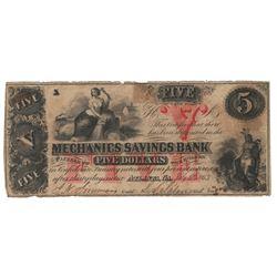 United States 1863 $5 Mechanics Savings Bank Atlanta Georgia