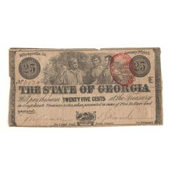 United States 1863 25 Cents State of Georgia Red Seal