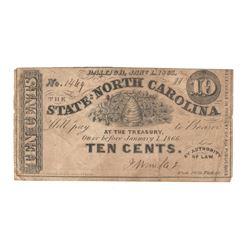 United States 1863 10 Cents State of North Carolina