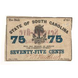United States 1863 75 Cents State of South Carolina
