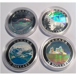 Canada 2003 & 2004 $20 Natural Wonders Lot of 4 Coins