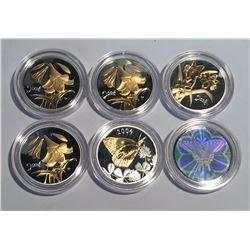 Canada 2003 & 2004 50 Cent Silver Coins Lot. Butterflies & Flowers.