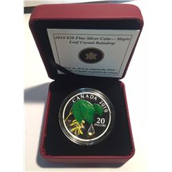 Canada 2010 $20 Maple Leaf with Crystal Raindrop Silver Coin