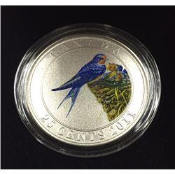 Canada 2011 25 Cents Barn Swallow Coloured Coin