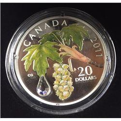 Canada 2011 $20 Maple Leaf Crystal Raindrop Silver Coin
