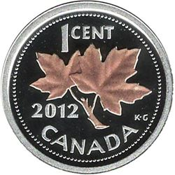 Canada 2012 1 Cent Silver with Selective Rose Gold Plating Proof Small Coin