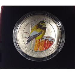Canada 2012 25 Cents Evening Grosbeak Coloured Coin