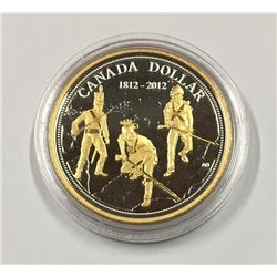 Canada 2012 $1 200th Anniversary of the War of 1812 Proof Gold Plated Silver Dollar