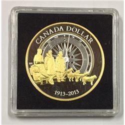 Canada 2013 $1 100th Anniversary of the Canadian Arctic Expedition Gold Plated Silver Dollar