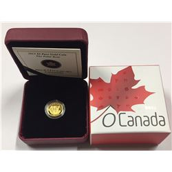 Canada 2013 $5 The Polar Bear O Canada Series 1/10 oz Pure Gold Coin