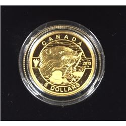 Canada 2013 $5 The Beaver O Canada Series 1/10 oz Pure Gold Coin