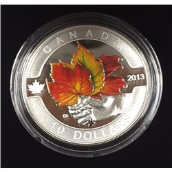 Canada 2013 $10 Coloured Maple Leaf O Canada Series 1/2 oz Pure Silver Coin