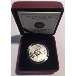 Canada 2013 $10 The Year of The Snake Silver Coin