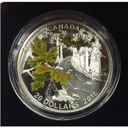 Canada 2016 $20 Jewel of the Rain Bigleaf Maple Silver Coin