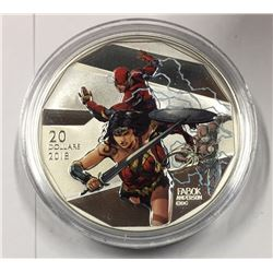 Canada 2018 $20 Justice League The Flash and Wonder Woman Silver Coin