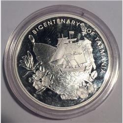 Australia 2004 $5 Bicentenial of Tasmania Silver Coin