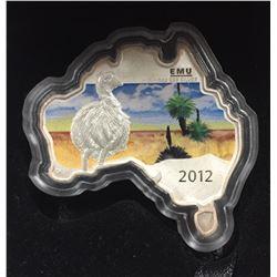 Australia 2012 Map Shaped Coin: Emu 1 oz Silver Coin