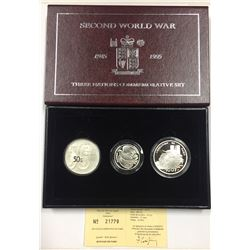 Great Britain, France, Netherlands WWII Commemorative Silver Coin Set