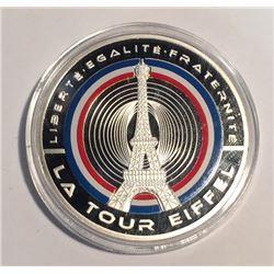 France La Tour Eiffel Le Fleurons Francais Silver Plated Medal