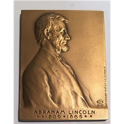 United States 1971 Abraham Lincoln & Victor David Brenner Plaque