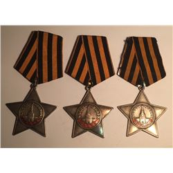 Russia Order of Glory 3rd Class Medal 1943 (X3)