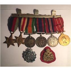 WWII Medal Set 6 Medals + Badges (RAF, Edmontion Regiment)