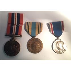 United Nations Emergency Force Medal, 1935 Coronation Medal, WWII War Medal