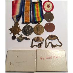 Canada WWI & WWII Medal Set with Pins, Bracelets, Registration Card