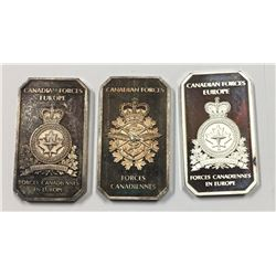 Edelmetall-Art Canadian Forces Europe 1 oz Silver Art Bar (Lot of 3)