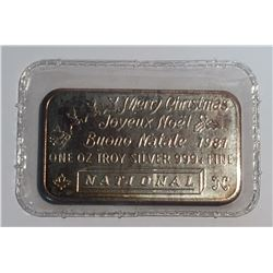 1 oz Silver Bar National Merry Christmas 1981